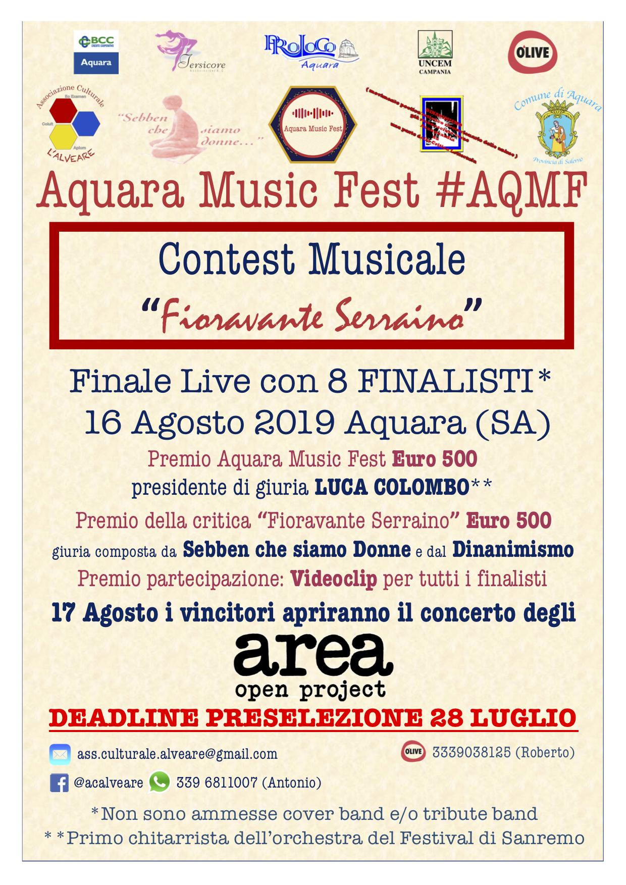 """Aqmf aquara music fest 2019 – associazione culturale """"l'alveare"""""""